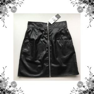 {French Connection} Faux Leather High Waist Skirt